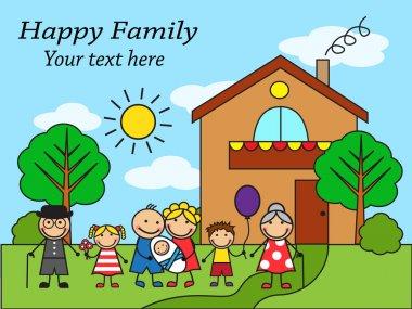 Cartoon big happy family near the house
