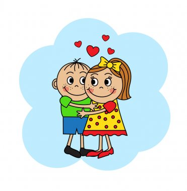 Cartoon couple hugging children