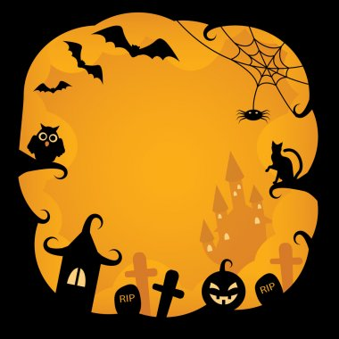 Cartoon background on Halloween with pumpkins, black cat, owl, bats, cobwebs, castles and tombs witch on an orange background stock vector