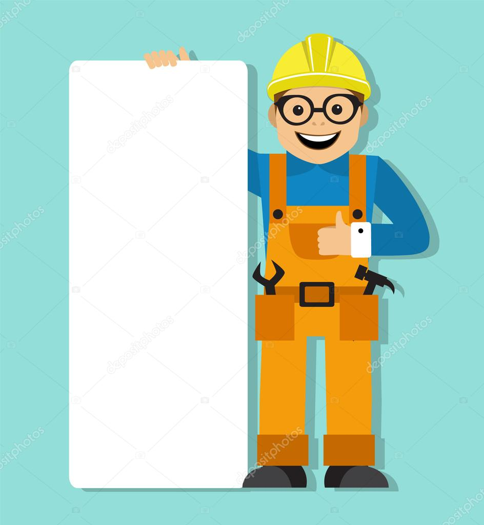 Worker in helmet holding a blank poster