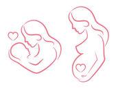 Fotografia donna incinta e la donna che tiene un bambino