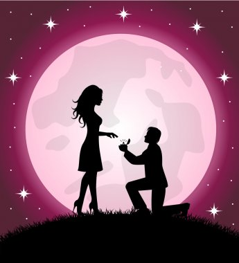 Man standing on the knee gives a woman a ring. In the background a starry sky and the full moon clip art vector