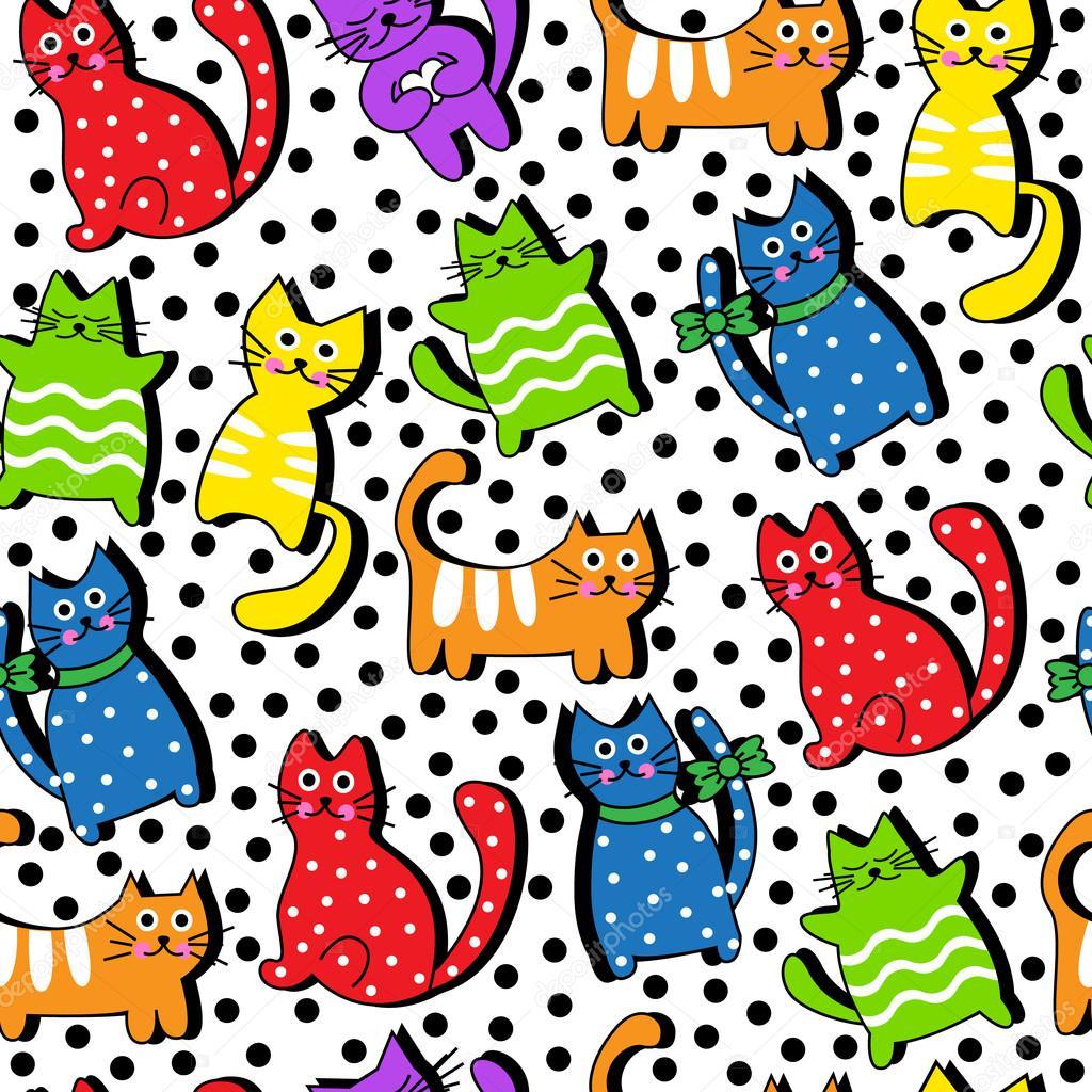 Dibujos animados de gatos coloridos transparente archivo for Red transparente para gatos