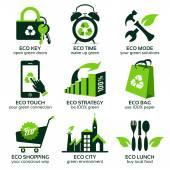 Fényképek Eco lapos szimbólumok a világ zöld életmód támogatása