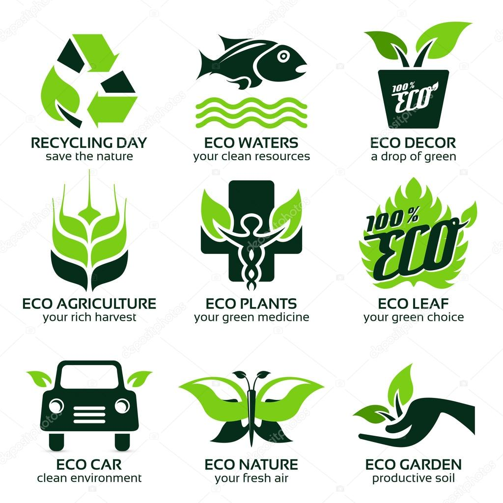flat icon set for green eco nature
