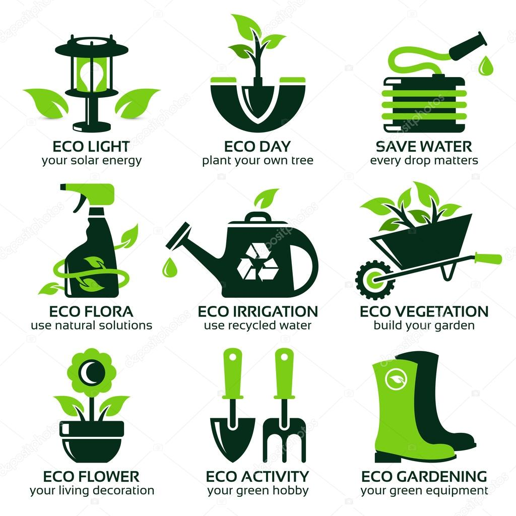 flat icon set for green eco garden