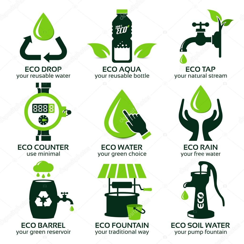 flat icon set for green eco water