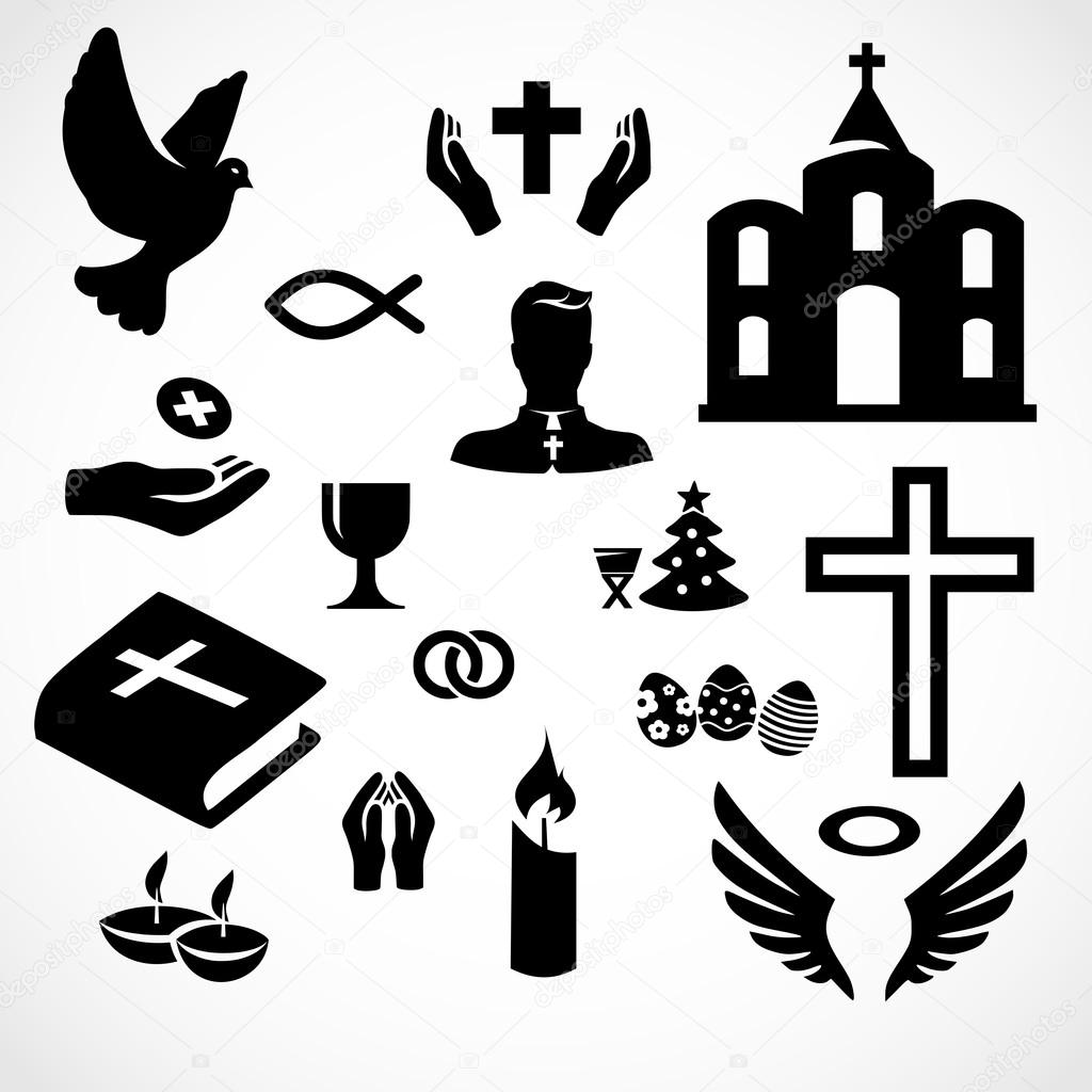 Catholic Church Icon Set Vector Stock Vector Mrswilkins 120192162