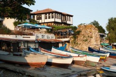 Bulgaria, beach, boat, coast, travel, city, river, sea, water, sky, beautiful, Nessebar, town, tourism, tourist, stock vector