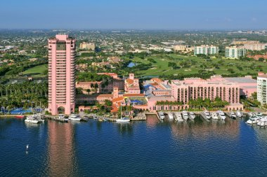 overhead view of boca raton florida lake and marina
