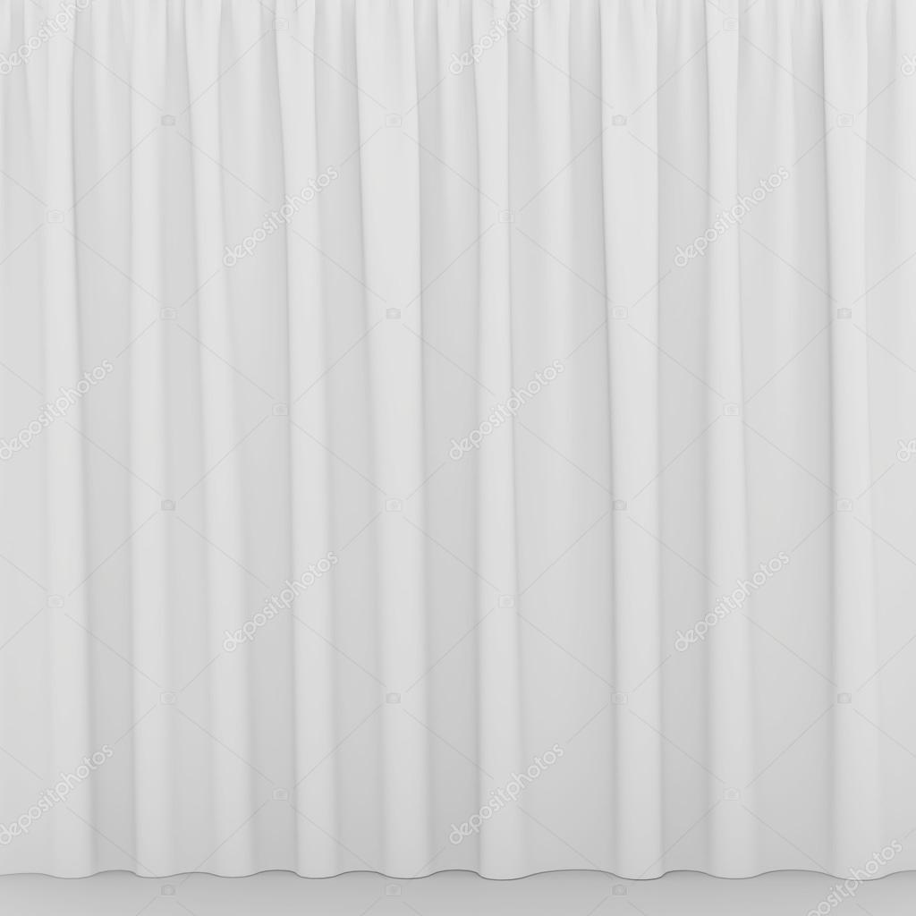 Blank White Curtain Or Drapes On White Gray Background