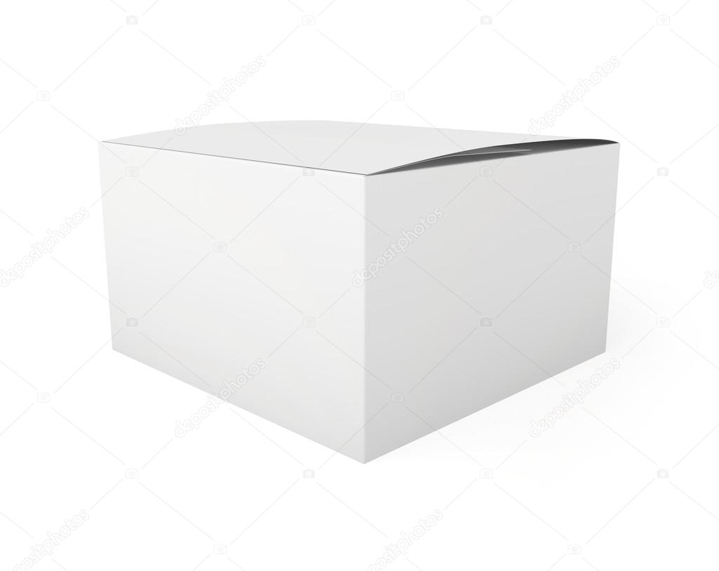 Blank Paper Or Cardboard Box Template Standing On White Background Stock Photo