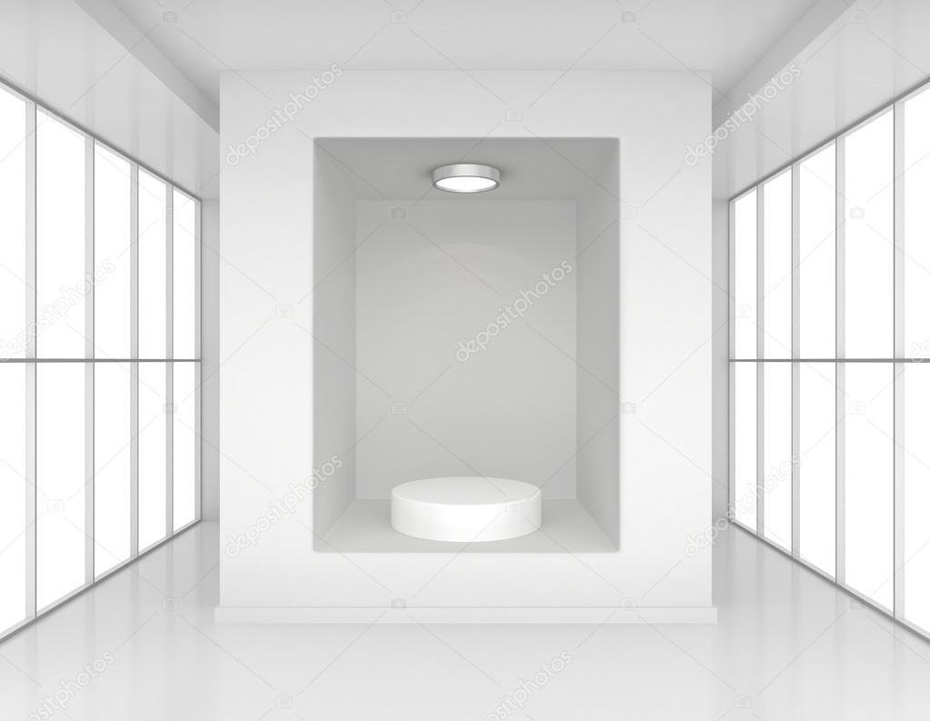 vitrine met verlichting en podia voor monsters product in leeg interieur kamer grote ramen stockfoto
