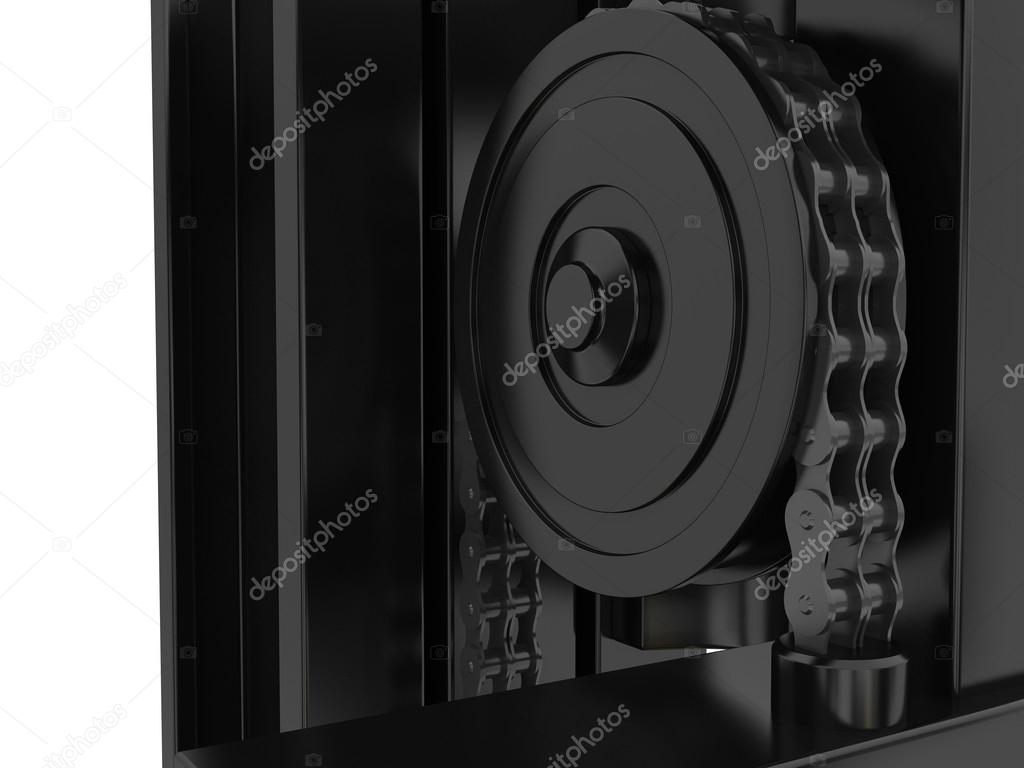 Toplader mechanismus des gabelstaplers und kette d rendering