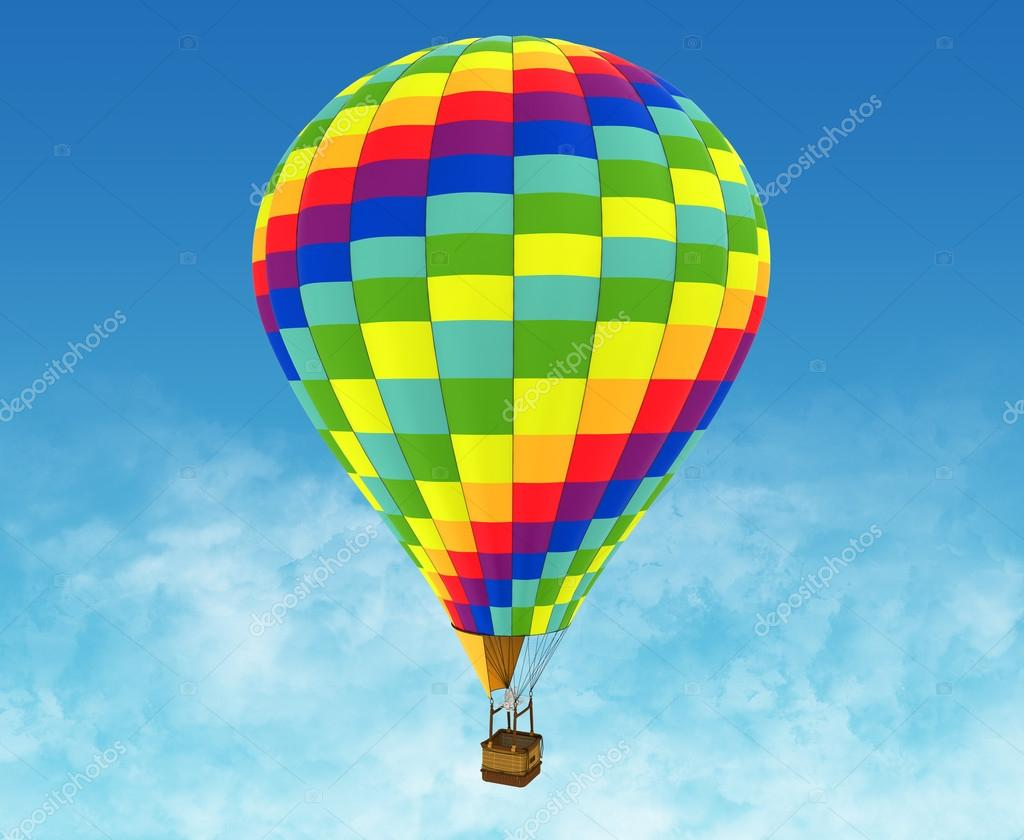 Beautiful Hot Air Balloon against a deep blue sky.