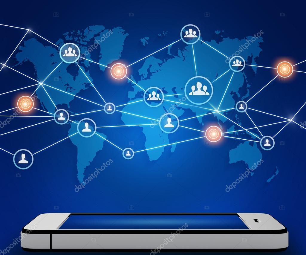Mobile phone and world map with icons people teamwork stock mobile phone and world map with icons people teamwork stock photo gumiabroncs Gallery