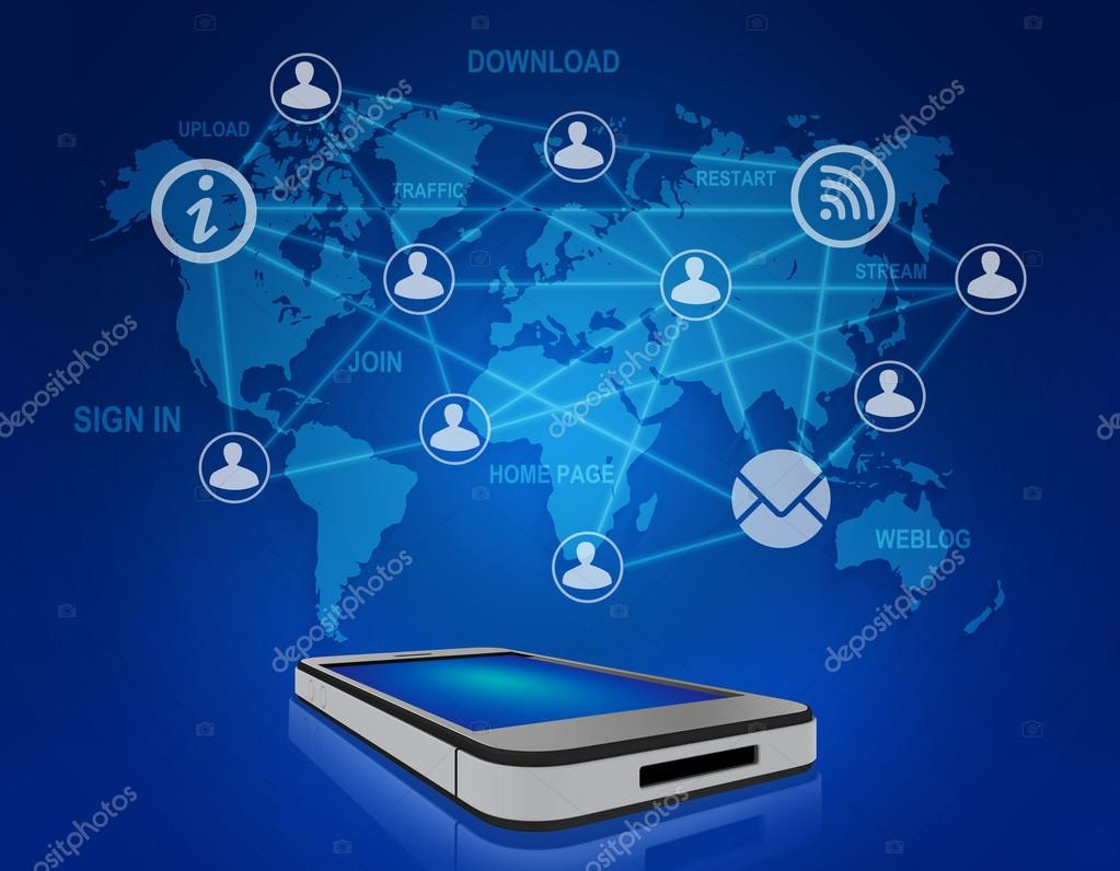 Mobile phone and icons people teamwork on world map stock photo mobile phone and icons people teamwork on world map stock photo gumiabroncs Images
