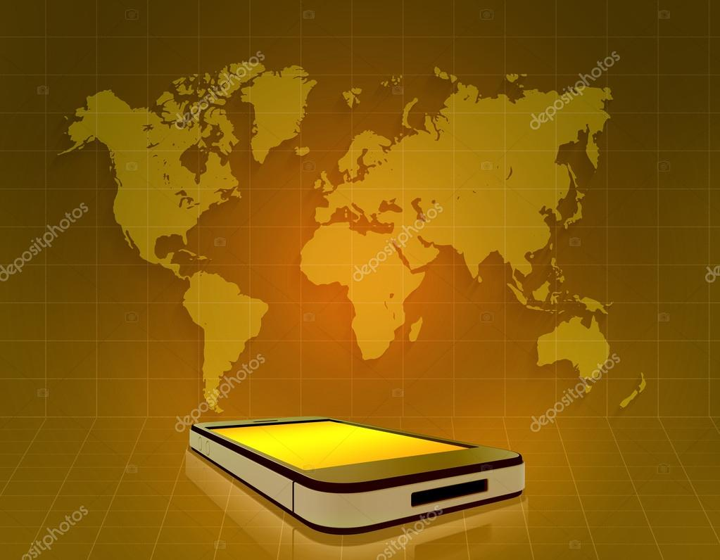 Mobile phone and world map on grid orange background stock photo mobile phone and world map on grid orange background stock photo gumiabroncs Images