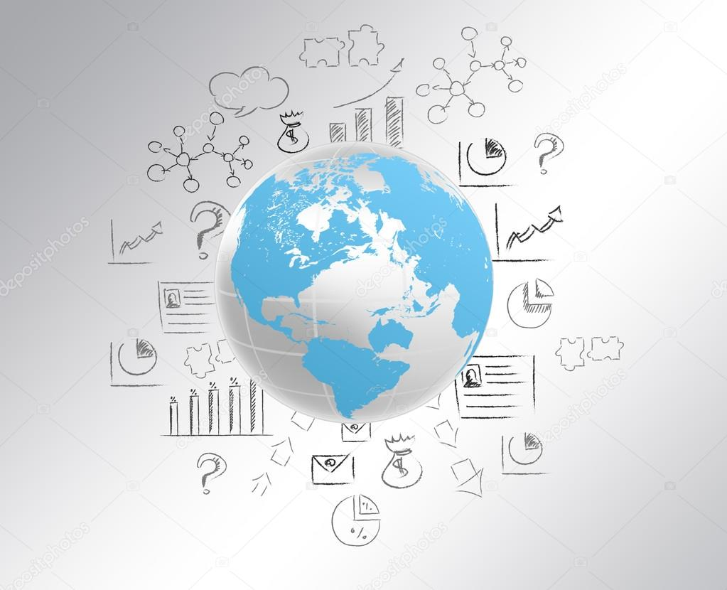Globe with world map and draw a pencil icon stock photo globe with world map and draw a pencil icon stock photo gumiabroncs Gallery