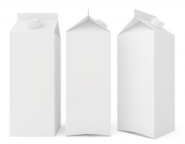 Milk cartons isolated on white background. 3d render