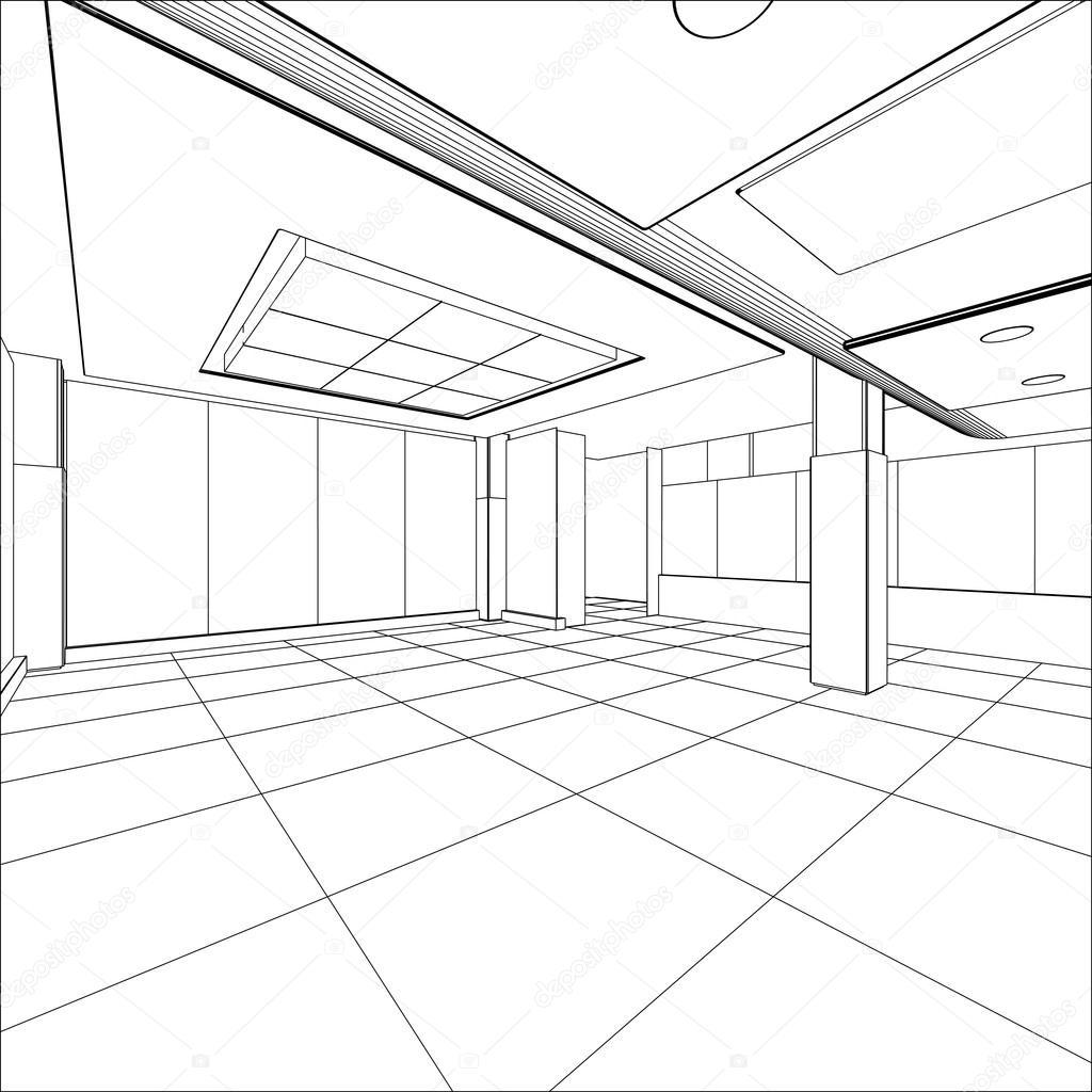 Abstrakte Moderne Büro Architektur Design In 3d Drahtmodell U2014 Stockvektor