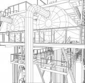 Drahtmodell Öl- und Industrieanlagen. 3d Illustration Ablaufverfolgung. Vektorformat EPS 10