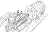 Drahtgestell Industrieanlagen Öl- und Gaspumpe. Nachvollziehbare Illustration von 3D. eps 10 Vektorformat
