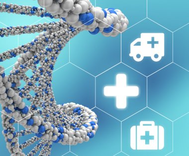 DNA molecule twisted into a spiral and medical icons enclosed in hexagons