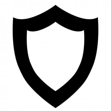Vector black shield icon on white background.