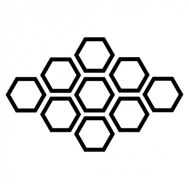 vector black hexagonal icon on white background.