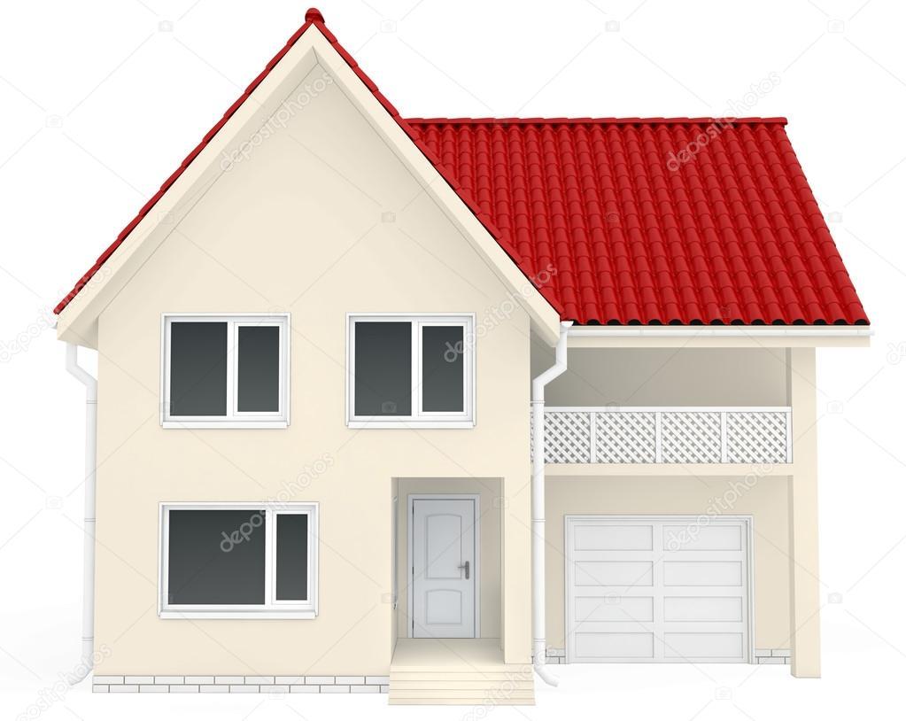 Schön Garage Am Haus Ideen Von Rotes Dach, Balkon Und Unteren — Stockfoto