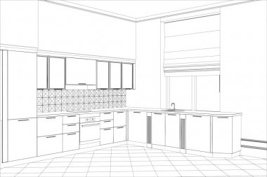 kitchen sketch style interior. Illustration created of 3d