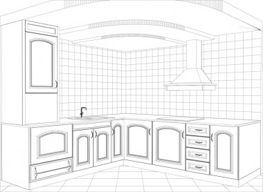 Kitchen vector sketch interior. Illustration created of 3d