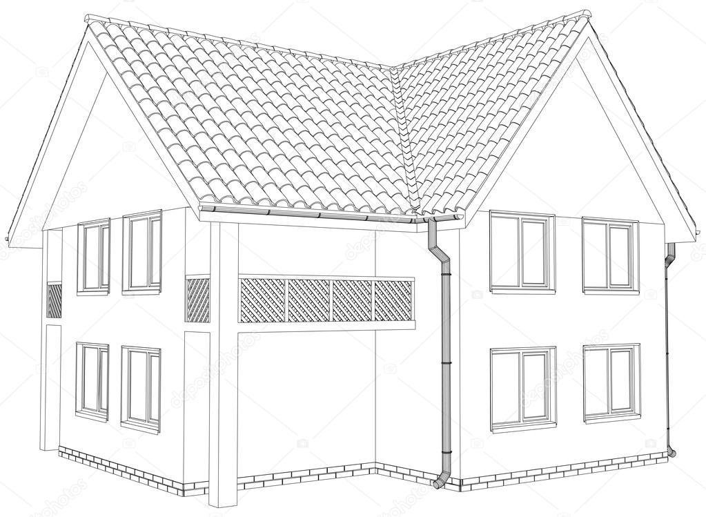 Skizze-Gliederung-Haus auf dem weißen Hintergrund. EPS-10 ... on