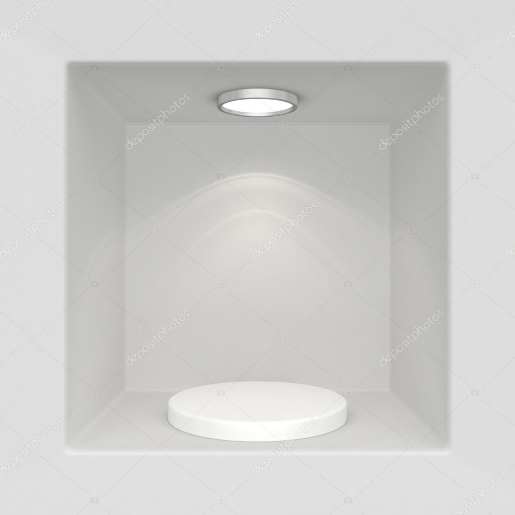 vitrine met verlichting en podia voor monsters product stockfoto