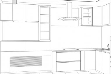 Kitchen vector sketch interior. Illustration created of 3d