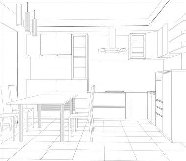 Abstract sketch design interior kitchen. Illustration created of 3d