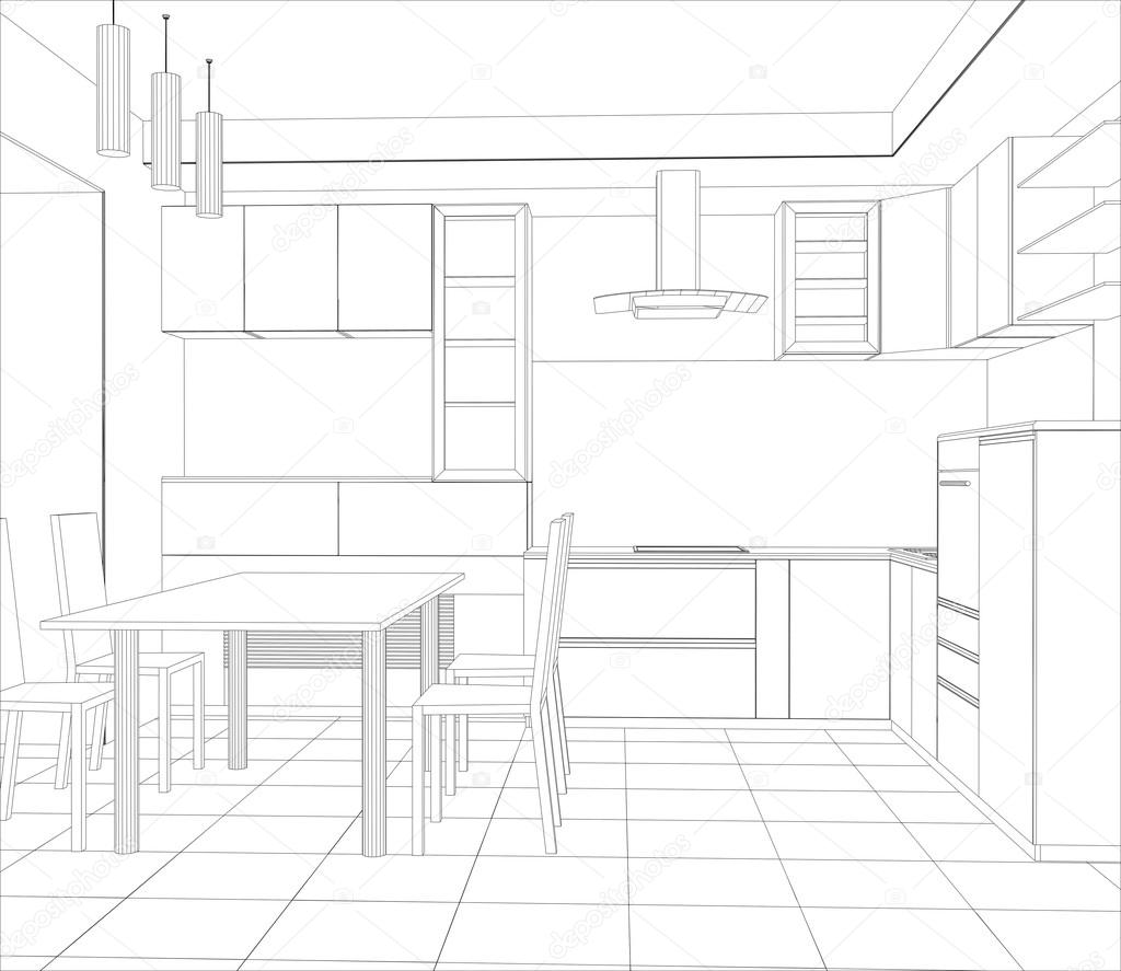3d Sketch Small Kitchens And Islands: Abstract Sketch Design Interior Kitchen. Illustration