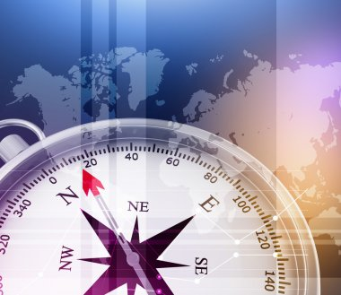 Abstract background with compass and world map
