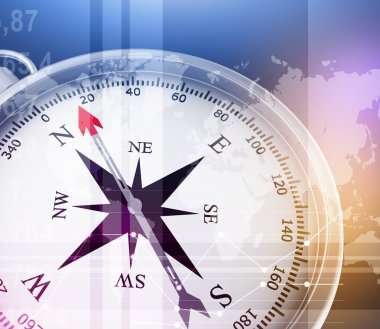 Illustration of compass and world map on colorful background