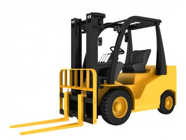 Forklift truck on white isolated background