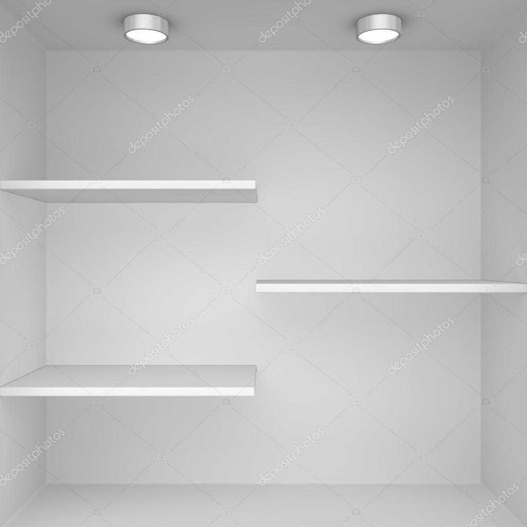 Blank exhibition boutique with shelves — Stock Photo © mirexonlife