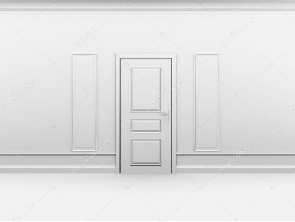Cerró la puerta en vacío interior con marco en pared — Foto de stock ...
