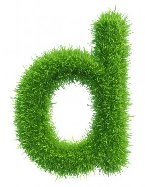 Vector small grass letter d on white background