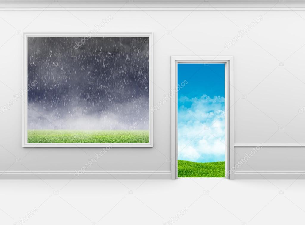 Bad weather on the wall in frame and good outside door — Stock Photo ...