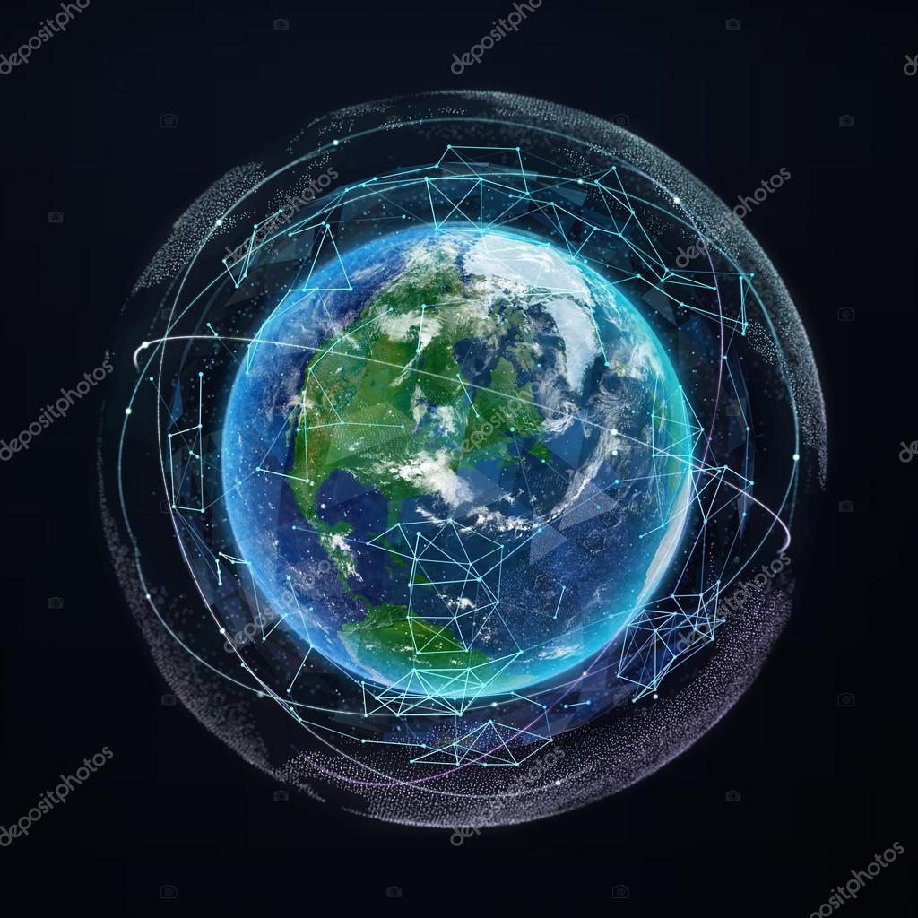 Earth planet global network communication satellite for Internet plante