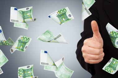 Euro Banknotes with Confirmation Sign of Business Woman