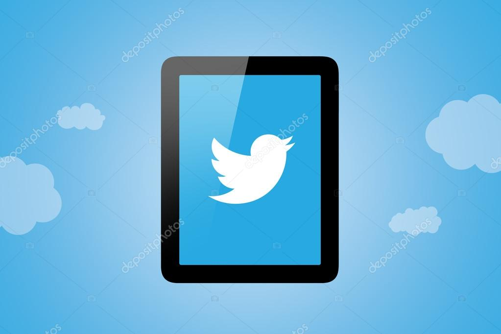 Twitter Icon on Tablet Pc