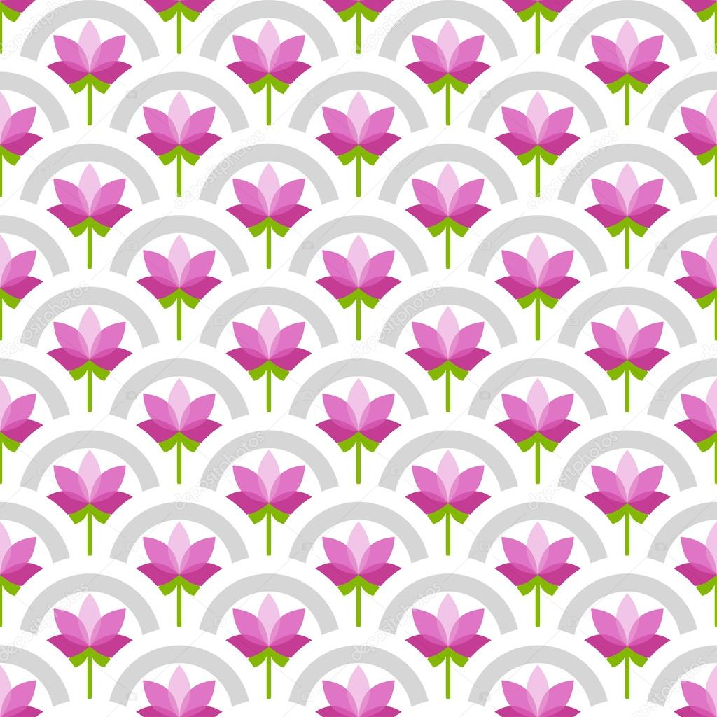 Vector Lotus Flower Vector Seamless Japanese Style Half Circle