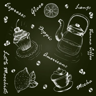 Collection of hand drawn sketches of tea and coffee. Teapots , cups , other utensils, spices and additives for tea and coffee. icon